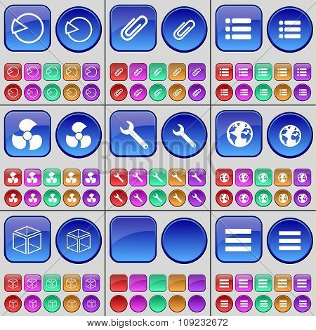 Diagram, Clip, List, Screw, Wrench, Eight, Box, List. A Large Set Of Multi-colored Buttons.