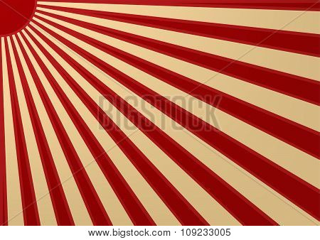 Vintage Red Sun With Ray On White Background Japan Flag Style. Vector Illustration.