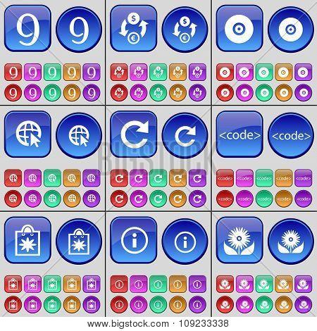 Nine, Currency Exchange, Disk, Web Cursor, Reload, Code, Flower, Information, Flower. A Large Set