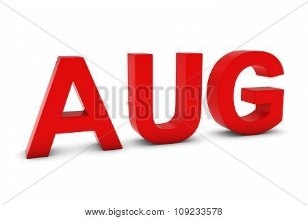 Aug Red 3D Text - August Month Abbreviation On White