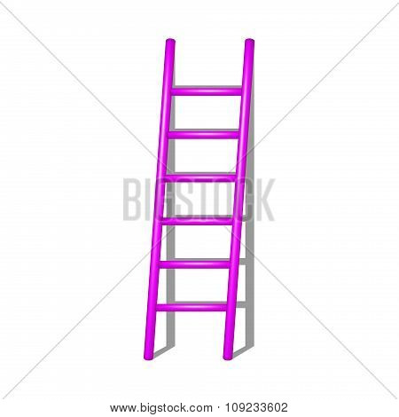 Wooden ladder in pink design with shadow