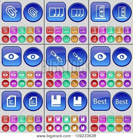 Clip, Files, Door, Vision, Link, Vision, Text File, Book, Best. A Large Set Of Multi-colored