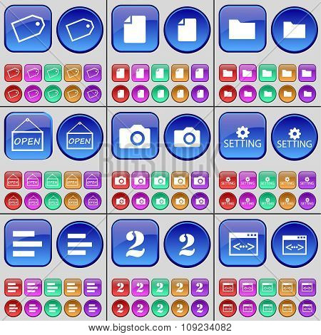 Tag, File, Folder, Open, Camera, Setting, List, Two, Code. A Large Set Of Multi-colored Buttons.