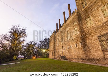 Palace of Duques de Braganca at sunset, north of Portugal