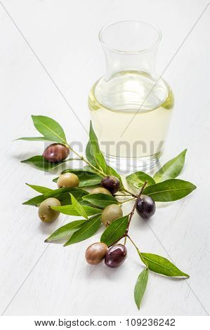 Olive Oil With Green Olives And Black Olives
