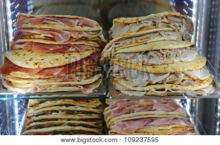 Lots Of Piadina Stuffed For Sale In The Restaurant In Central Italy