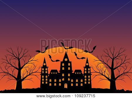 Castle With Bats Flying And Dead Tree In Twilight In Sunrise. Vector Illustration Halloween Backgrou