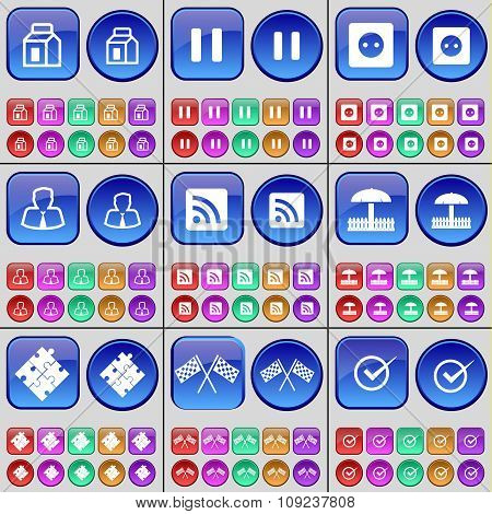 Package, Pause, Socket, Avatar, Rss, Umbrella, Puzzle, Colours, Tick. A Large Set Of Multi-colored