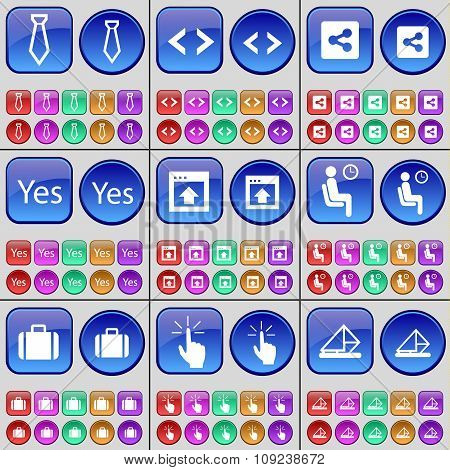 Tie, Code, Share, Yes, Window, Silhouette, Suitcase, Touch, Message. A Large Set Of Multi-colored