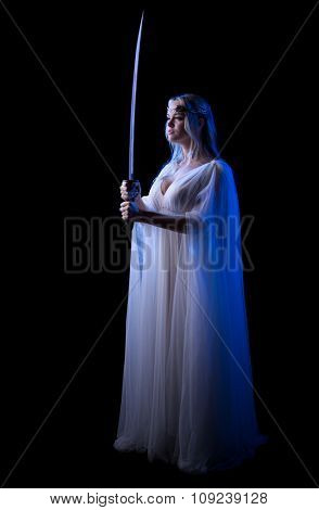 Young elven girl with sword isolated