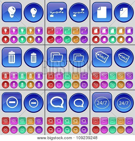 Light Bulb, Connection, File, Trash Can, Folder, Sale, Minus, Chat Bubble. A Large Set Of Multi-