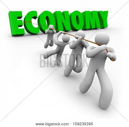 Economy word in green 3d letters pulled by customers or workers to improve financial growth