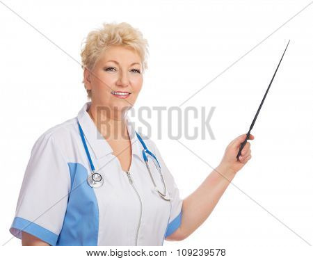 Mature doctor with pointer isolated