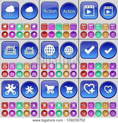 Cloud, Action, Media Player, Printer, Globe, Tick, Wrench, Shopping Cart, Heart. A Large Set Of
