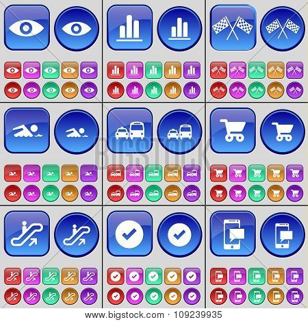 Vision, Diagram, Colours, Swimmer, Transport, Shopping Cart, Escalator, Tick, Sms. A Large Set Of