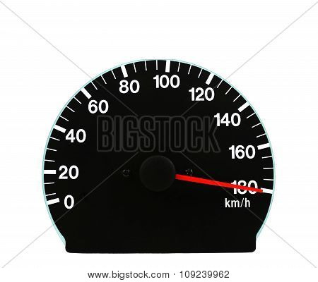 Automotive Speedometer On A White Background