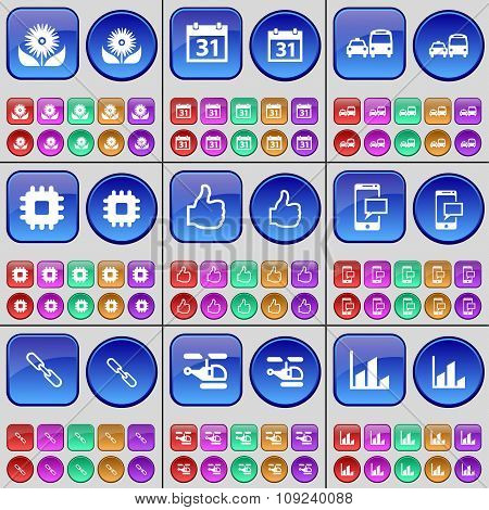 Flower, Calendar, Transport, Processor, Like, Sms, Link, Helicopter, Diagram. A Large Set Of Multi-