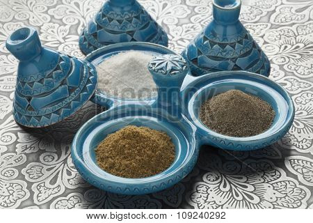 Traditional Moroccan pepper,salt and cumin bowl
