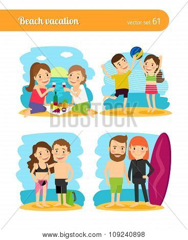 People on beach vacation