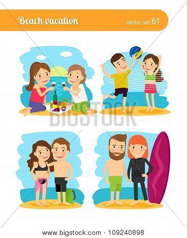 People on beach vacation
