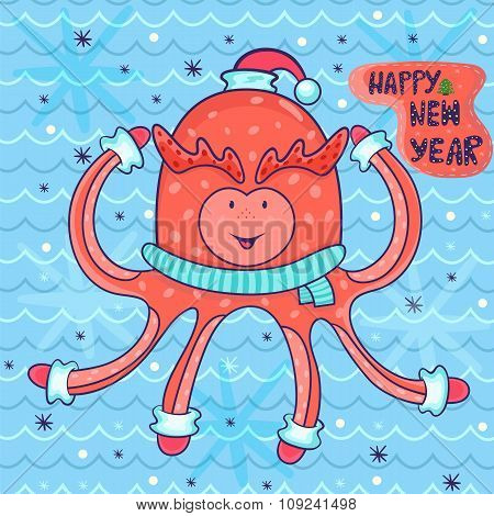Vector New Year Greeting Card In Childish Style. Happy Octopus In Santa Hat, Scarf, Gloves. Amazing