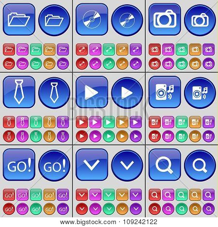 Folder, Disk, Camera, Tie, Media Play, Speaker, Go, Arrow Down, Magnifying Glass. A Large Set Of