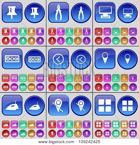 Pin, Pliers, Monitor, Currency, Arrow Left, Checkpoint, Iron, Checkpoint, Apps. A Large Set Of