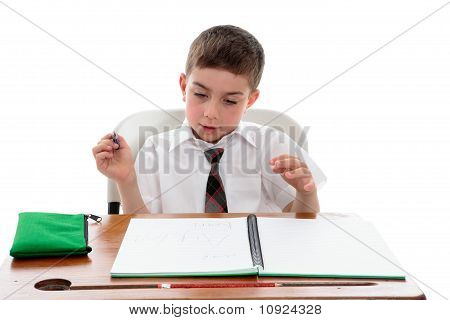 School Student Examining His Work