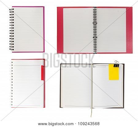 Set Of  Notebook Open On White Background