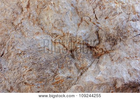 Old Stone Covered With Patina, Cracked, Background, Texture, Brown.