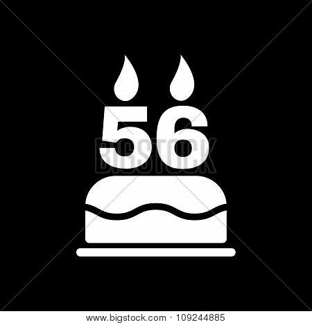 The birthday cake with candles in the form of number 56 icon. Birthday symbol. Flat