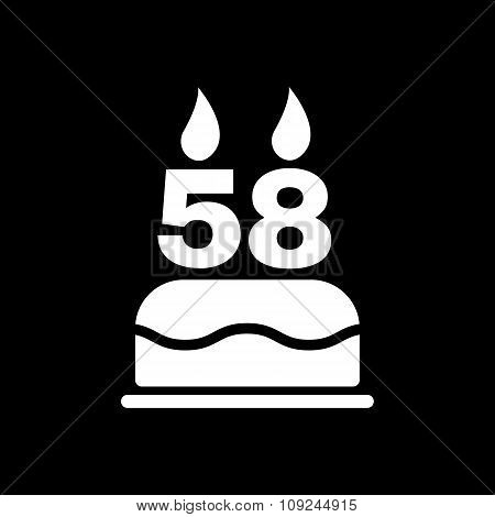 The birthday cake with candles in the form of number 58 icon. Birthday symbol. Flat