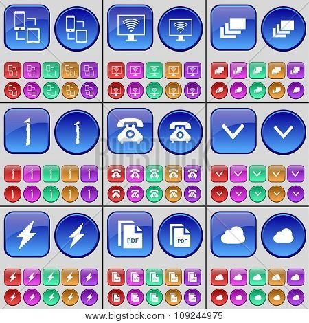 Connection, Monitor, Gallery, One, Receiver, Arrow Down, Flash, Pdf, Cloud. A Large Set Of Multi-