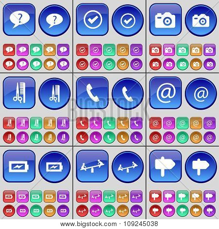 Chat Bubble, Tick, Camera, Haircut, Receiver, Mail, Charging, Swing, Sign. A Large Set Of Multi-