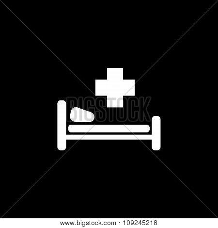 The hospital icon. Ambulance and presentation, medicine, treatment symbol. Flat