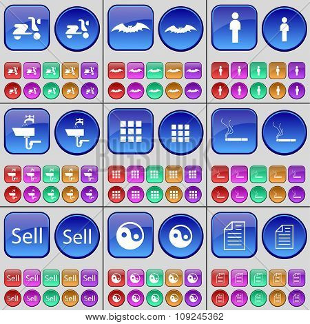Scooter, Bat, Silhouette, Tap, Apps, Cigarette, Sell, Yin-yang, Text File. A Large Set Of Multi-