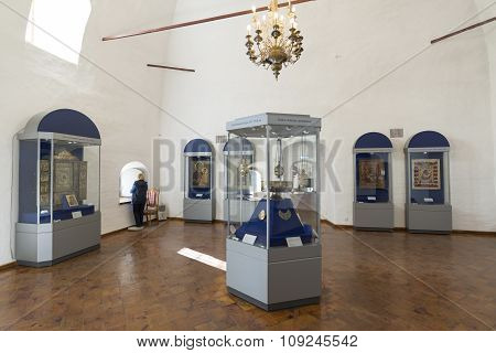 Suzdal, Russia -06.11.2015. Exhibition of Russian Icons in St. Euthymius monastery in Suzdal. Golden