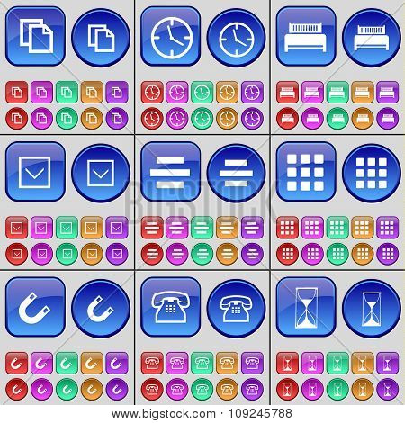 Copy, Clock, Bed, Arrow Down, List, Apps, Magnet, Phone, Hourglass. A Large Set Of Multi-colored