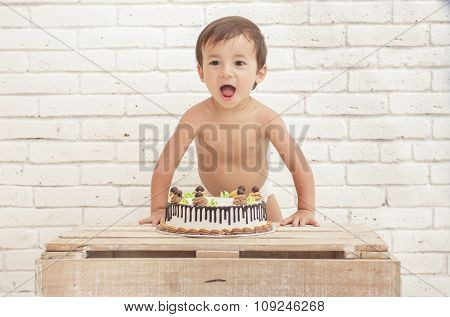 Cheerful Adorable Toddler With His Cake