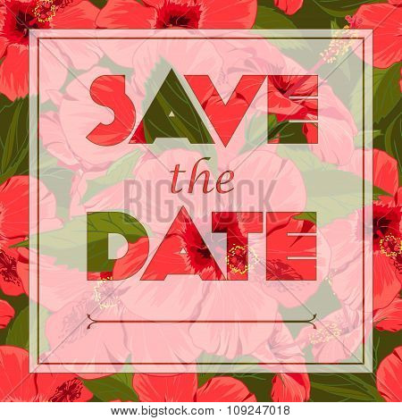 Floral greeting card with the text Save the date. Seamless pattern with festive flower bouquet ornam