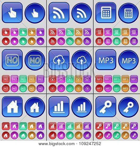 Hand, Rss, Calculator, No, Cloud, Mp3, House, List, Key. A Large Set Of Multi-colored Buttons.
