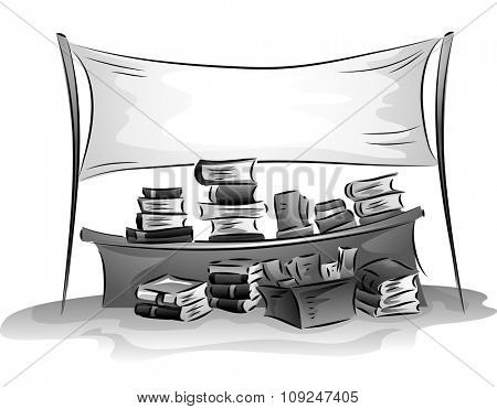 Banner Illustration of a Bazaar Selling a Wide Assortment of Books