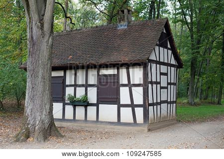 Half timbered house in forest