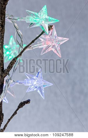 Star Shaped Christmas Light On Blurred Background