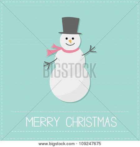Cartoon Snowman With Hat And Scarf. Blue Background. Dash Line. Merry Christmas Card. Flat Design