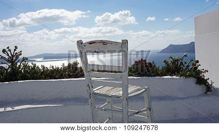 Viewpoint In Oia Village On Santorini Island