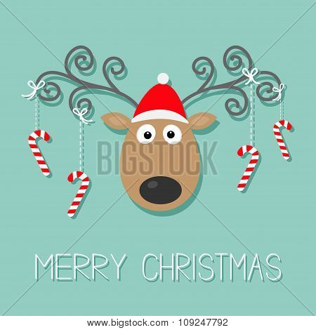 Cute Cartoon Deer With Curly Horns, Red Hat And Hanging Stick Candy Cane. Merry Christmas Blue Backg