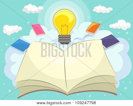 Illustration of an Open Book with a Lightbulb on Top