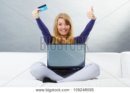 Woman With Credit Card Paying Over Internet For Online Shopping, Modern Technology