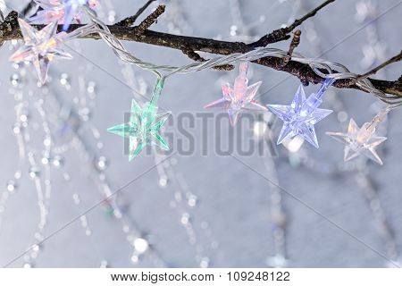 Christmas Holiday Background With Star Shaped Lights
